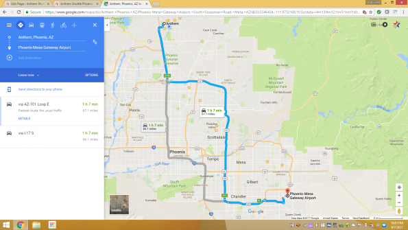 Anthem Shuttle driving directions between Anthem Arizona and Mesa Gateway Airport